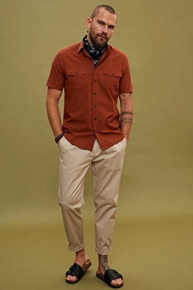 DeFacto Casual Tapered Fit Chino Pantolon Bej